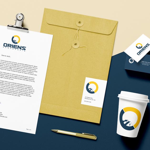 Desenvolvimento de Logotio / Logomarca + Papelaria / Identidade Visual para Oriens Engenharia
